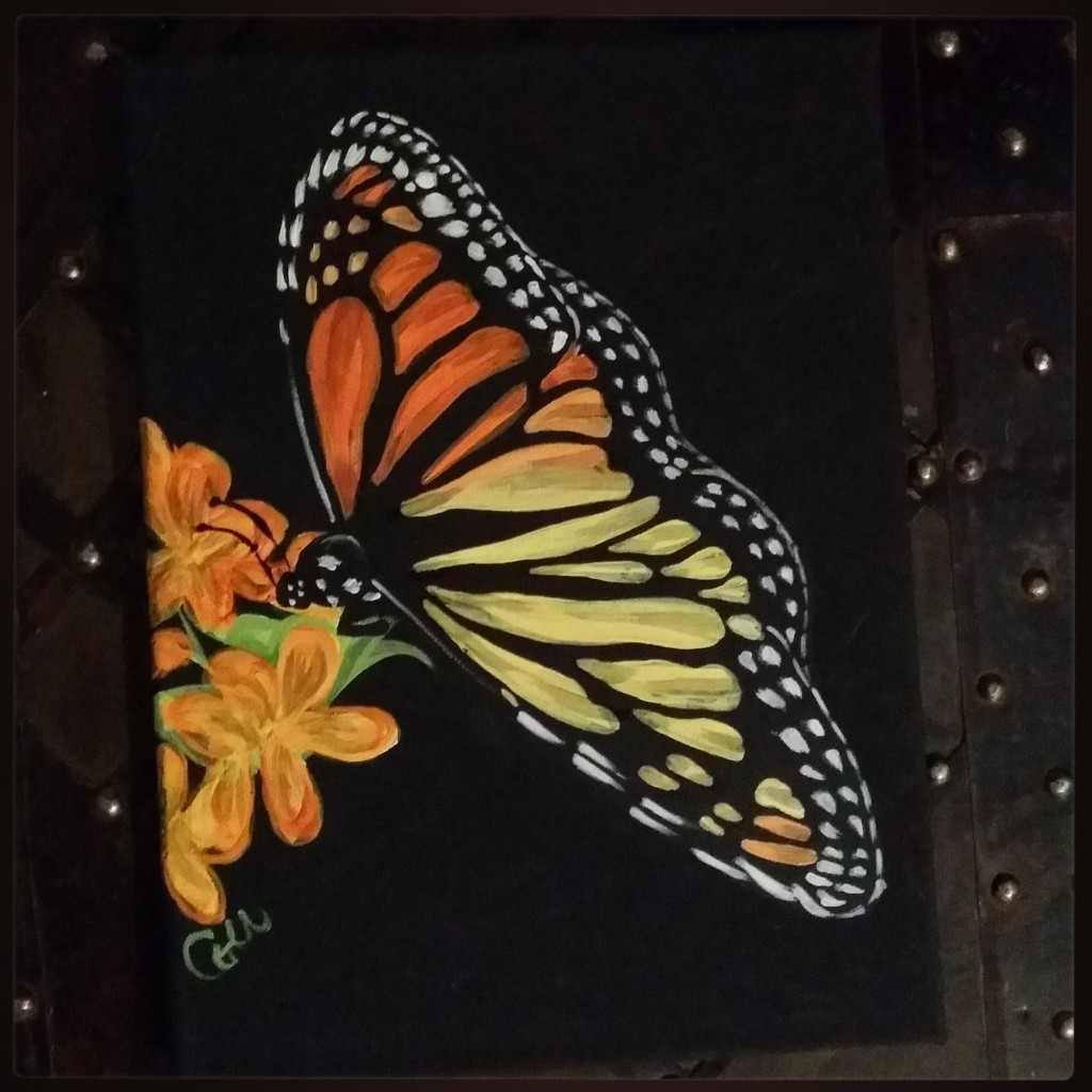 Clearing and Creating (artwork and eft): Butterfly painting by Col McGunnigle