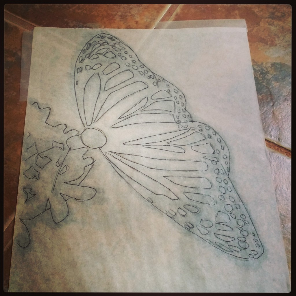 Sketch for butterfly painting by Col McGunnigle